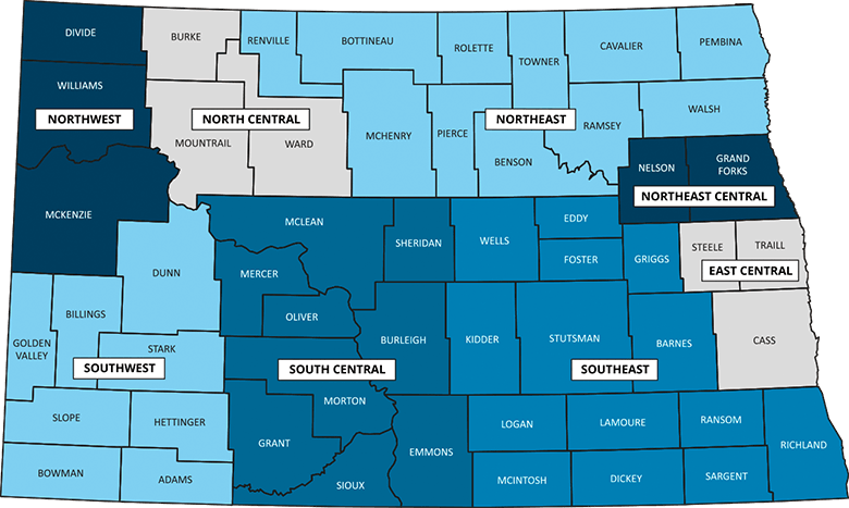 North Dakota map of counties by region
